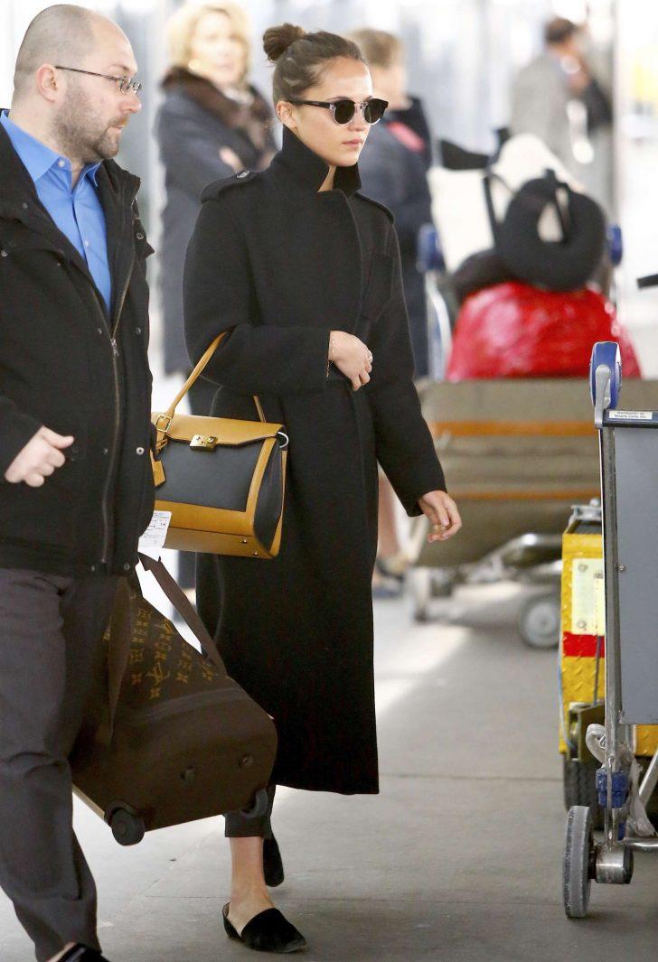Alicia Vikander: Arriving at JFK Airport -07
