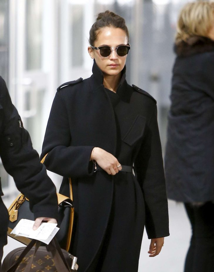 Alicia Vikander - Arriving at JFK Airport in NYC