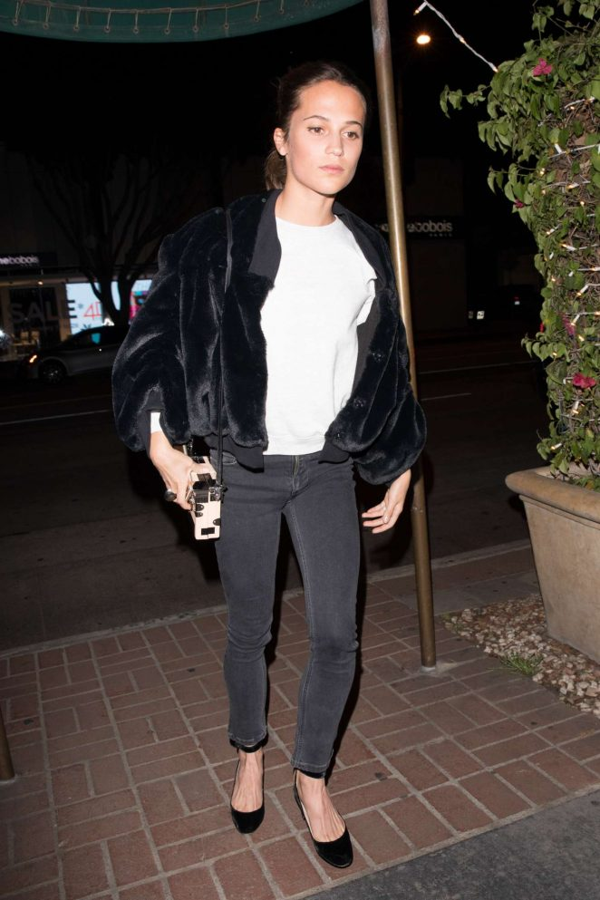 Alicia Vikander - Arriving at Madeo Ristorante in West Hollywood