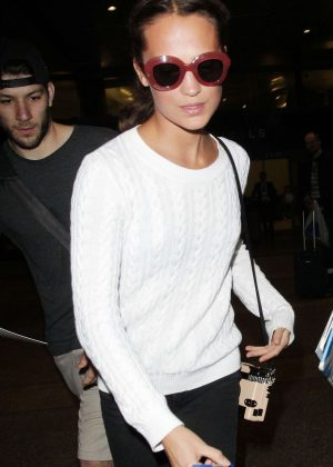 Alicia Vikander at LAX International Airport in Los Angeles