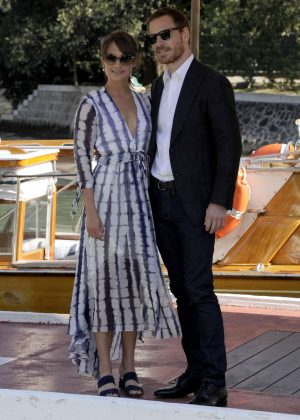 Alicia Vikander boarding a private water taxi in Venice