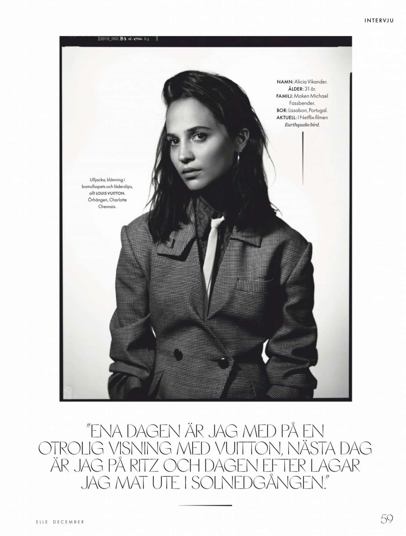 Alicia Vikander 2019 : Alicia Vikander – ELLE Sweden 2019-01