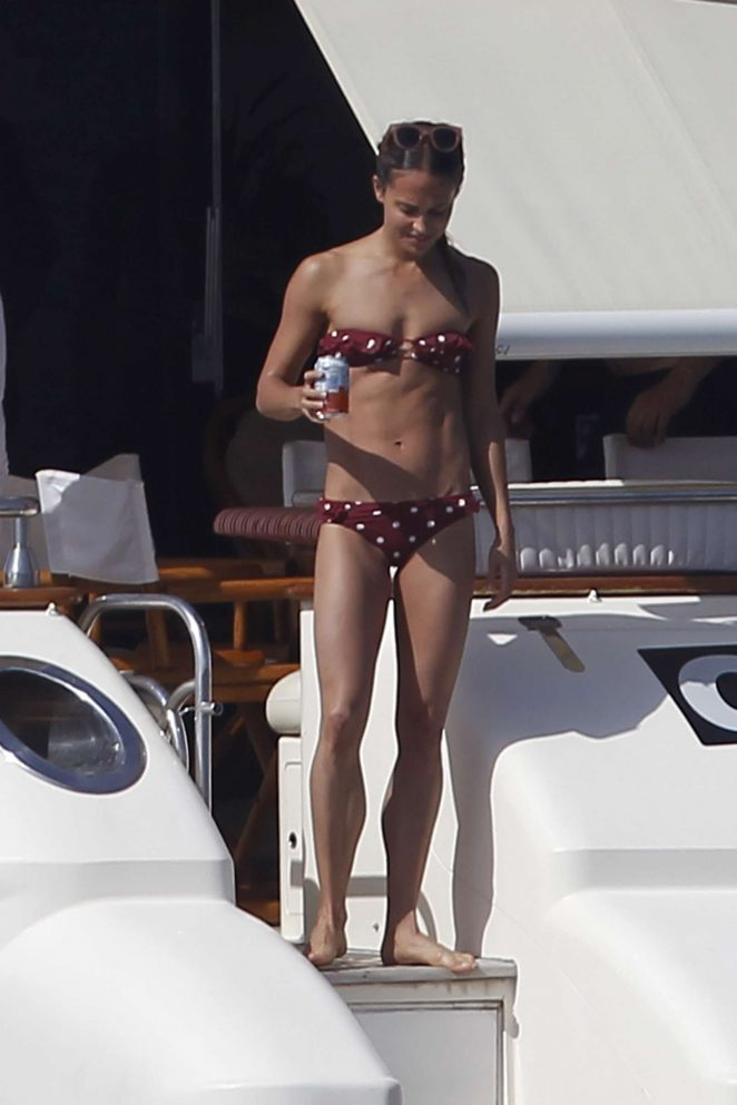 Alicia Vikander in Bikini on a yacht in Formentera