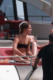 Alicia Vikander in Black Bikini on holidays in Ibiza