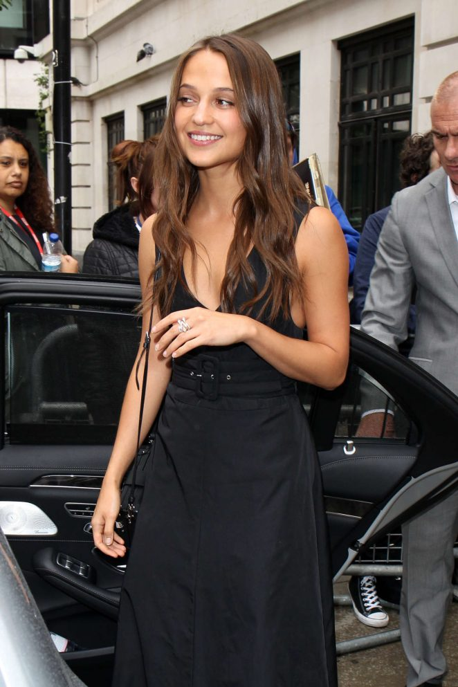 Alicia Vikander in Black Dress out in London