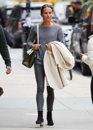 Alicia Vikander in Jeans Leaves Her Hotel in New York
