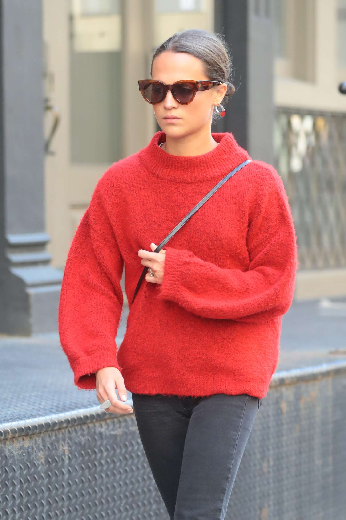 Alicia Vikander In Red Sweaters Out In New York City