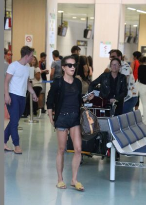 Alicia Vikander in Shorts with Michael Fassbender in Ibiza