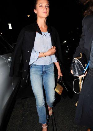 Alicia Vikander Leaving 34 Mayfair restaurant in London