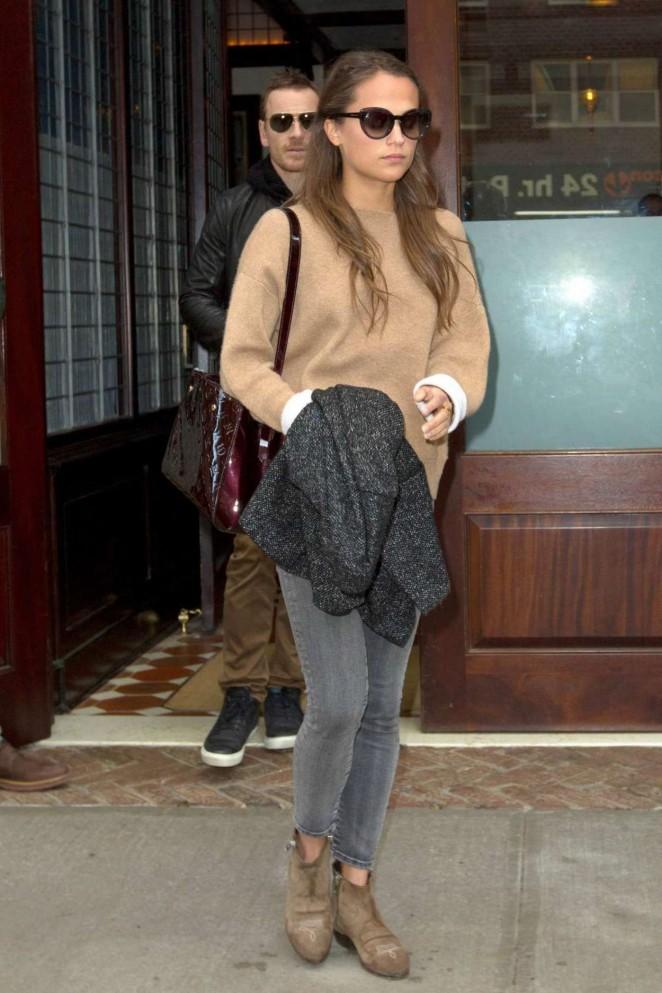 Alicia Vikander - Leaving Hotel in NYC