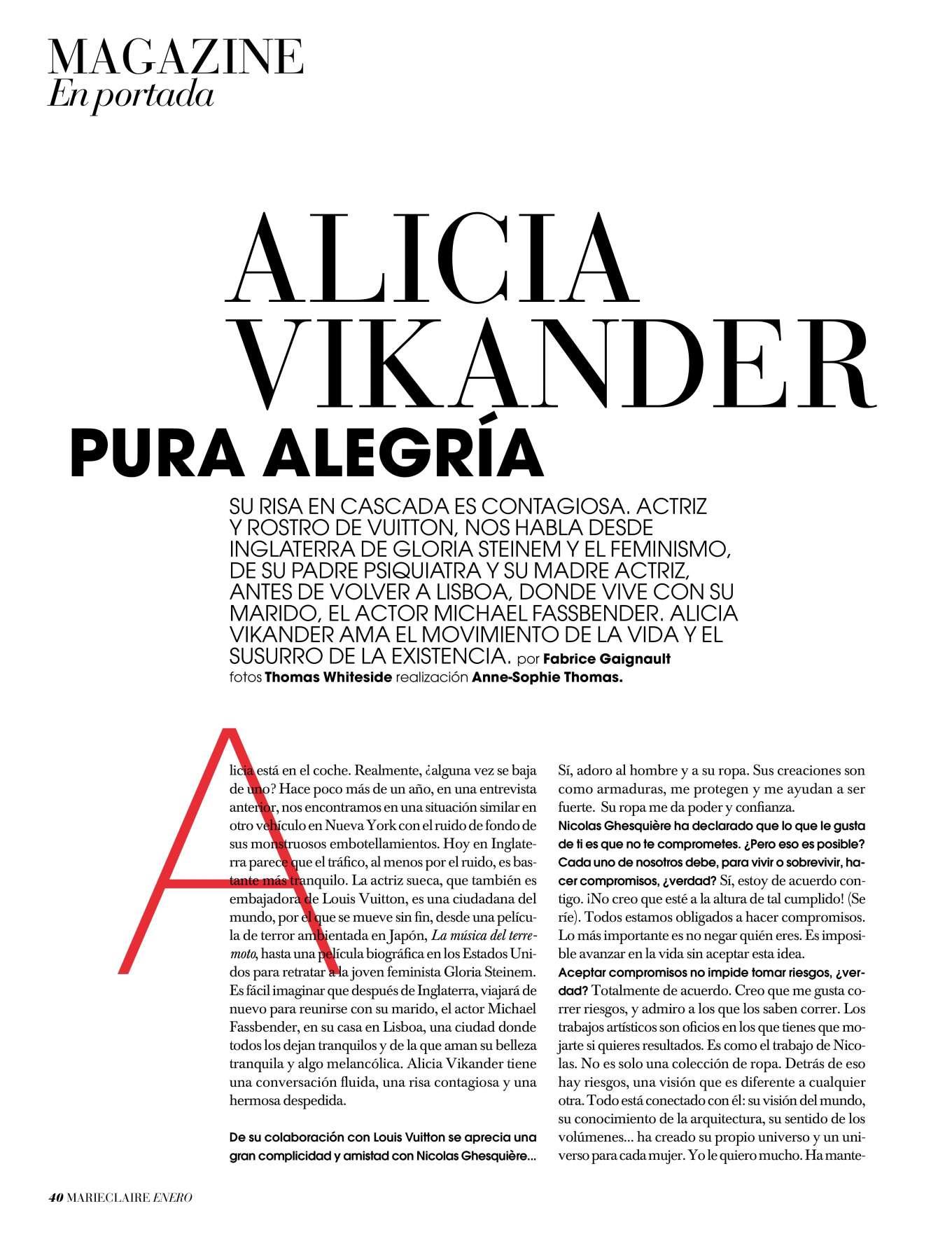 Alicia Vikander 2019 : Alicia Vikander – Marie Claire Espana 2020-04