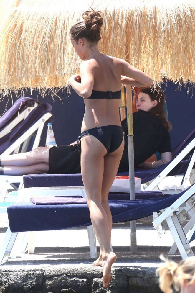 Alicia Vikander in Black Bikini in Ischia
