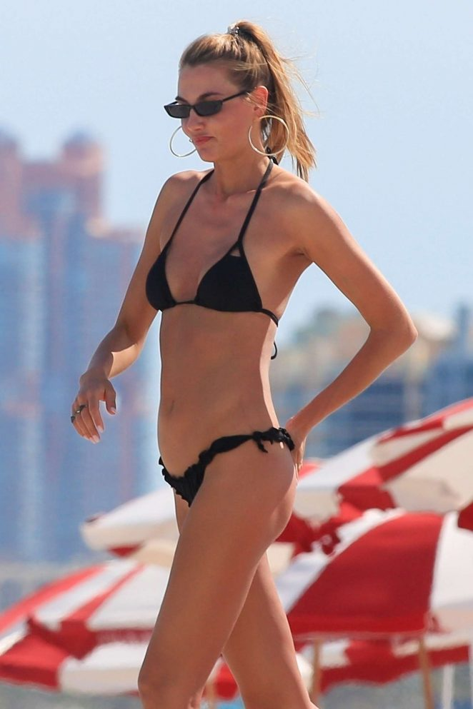 Alina Baikova in Black Bikini on the beach in Miami