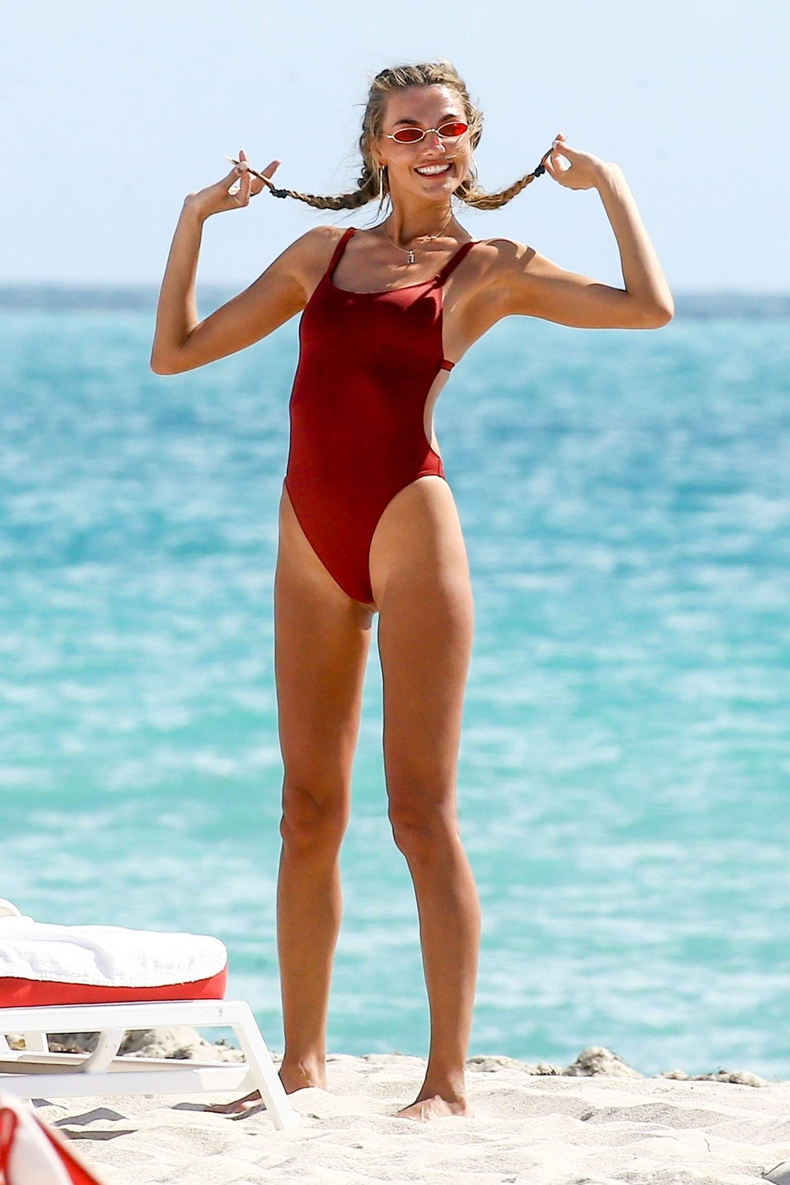 Alina Baikova in Red Swimsuit on the beach in Miami