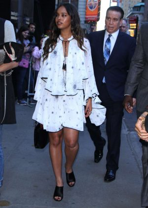 Alisha Boe - Arrives at Good Morning America in NYC