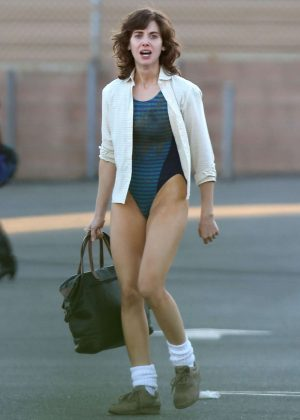Alison Brie: Filming G L O W in Los Angeles-20