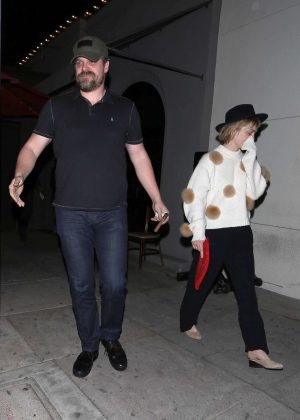 Alison Sudol and David Harbour at Craig's in West Hollywood