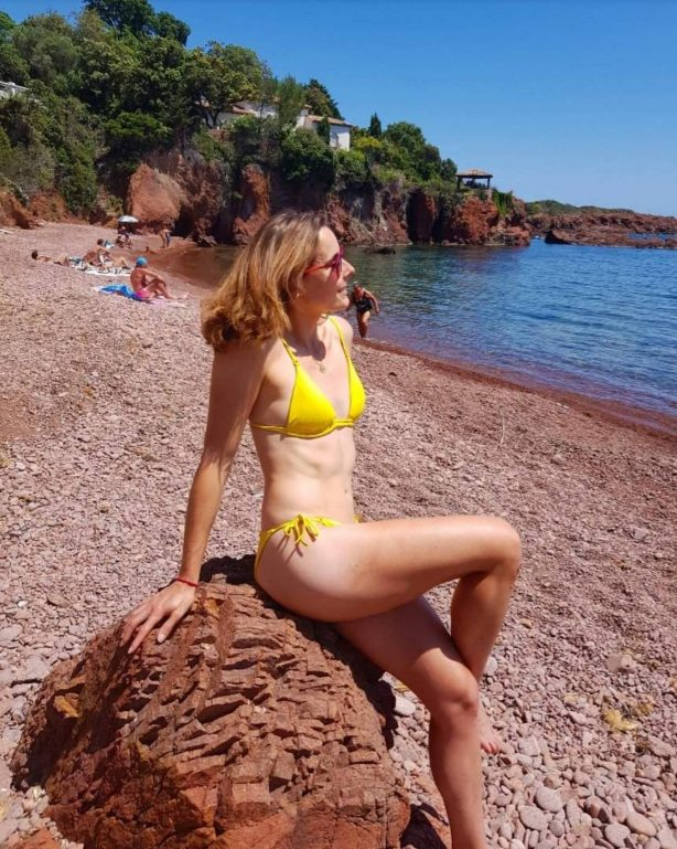Alize Cornet in Bikini at the Beach