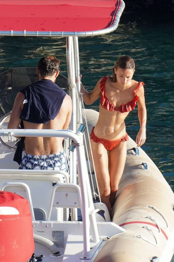 Alizee Thevenet and James Middleton seen during a boat trip in St. Barth's