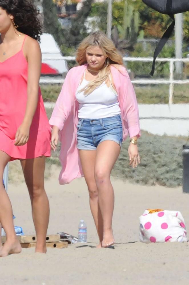 Alli Simpson in jeans Shorts Filming Music Video on Santa Monica Beach