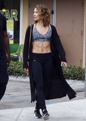 Allison Holker in Tights at Starbucks in Los Angeles