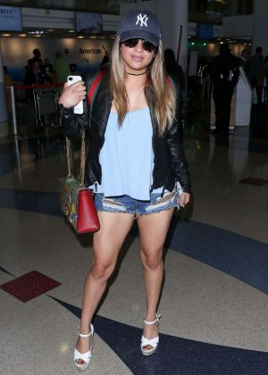 Ally Brooke in Jeans Shorts at LAX Airport in LA