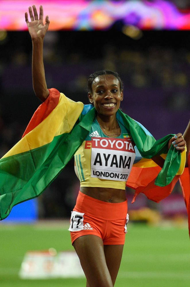 Almaz Ayana - Celebrates victory at the women's 10,000 meter run at 2017 IAAF World Championships in London