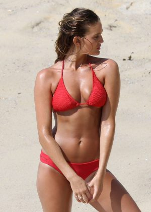 Alyce Crawford in Red Bikini - Photoshoot on Bondi Beach