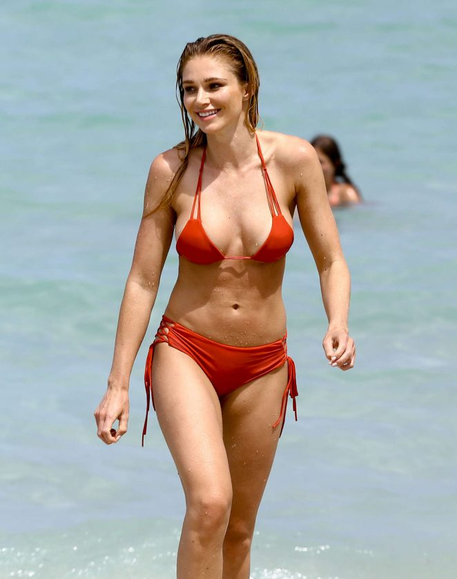 Alyssa Julya Smith in Red Bikini on the beach in Miami