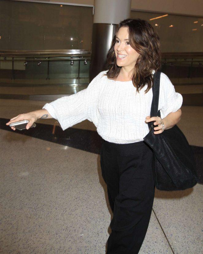 Alyssa Milano at LAX Airport in Los Angeles