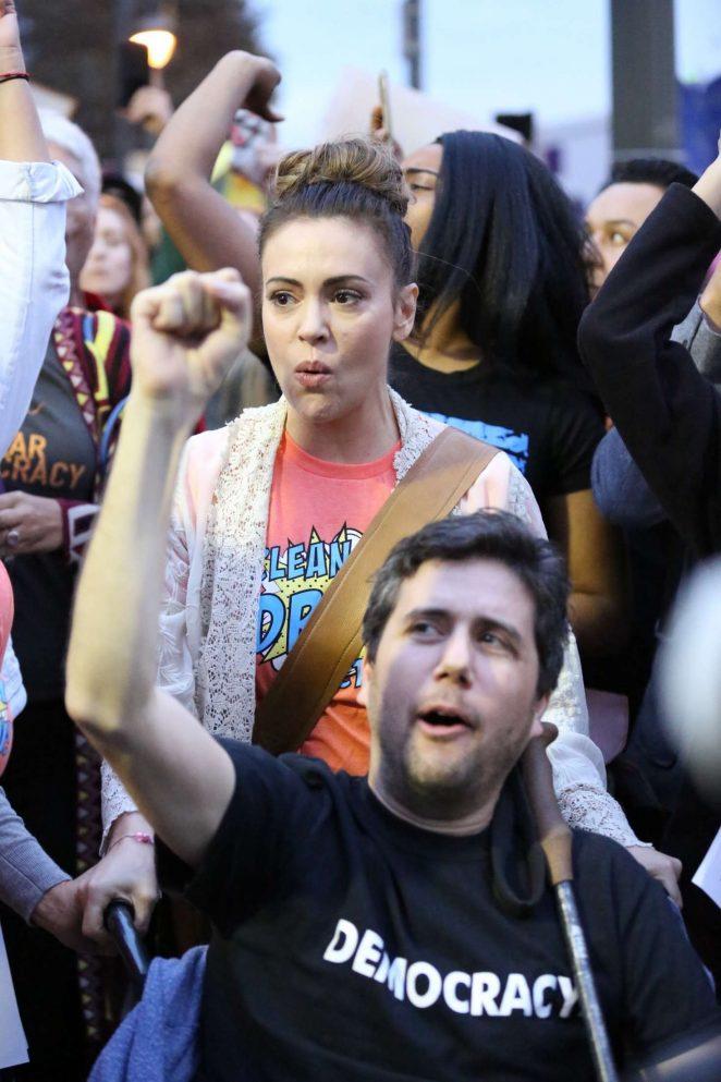 Alyssa Milano - Attending a protest in West Los Angeles