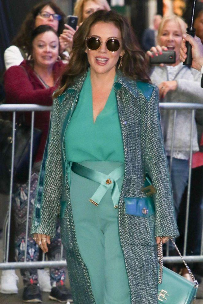 Alyssa Milano - Leaving 'Good Morning America' in New York