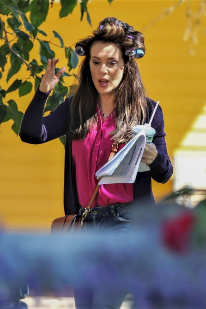 Alyssa Milano - On the set of 'Tempting Fate' in Vancouver