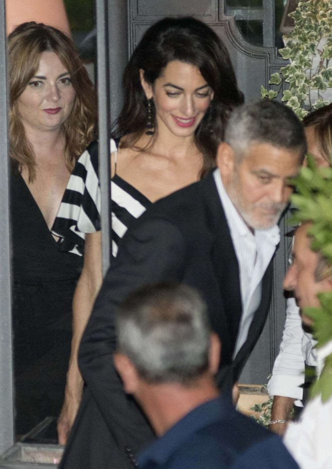Amal and George Clooney at Gatto Nero in Cernobbio