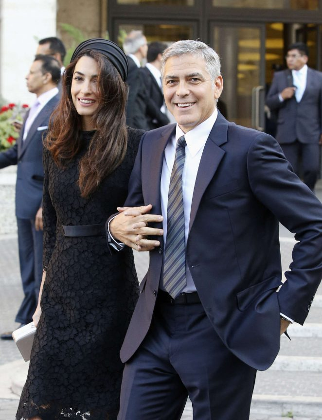 Amal and George Clooney out in Rome