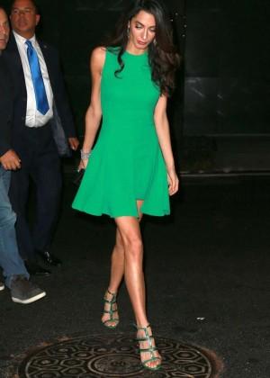 Amal Clooney in Green Mini Dress -02