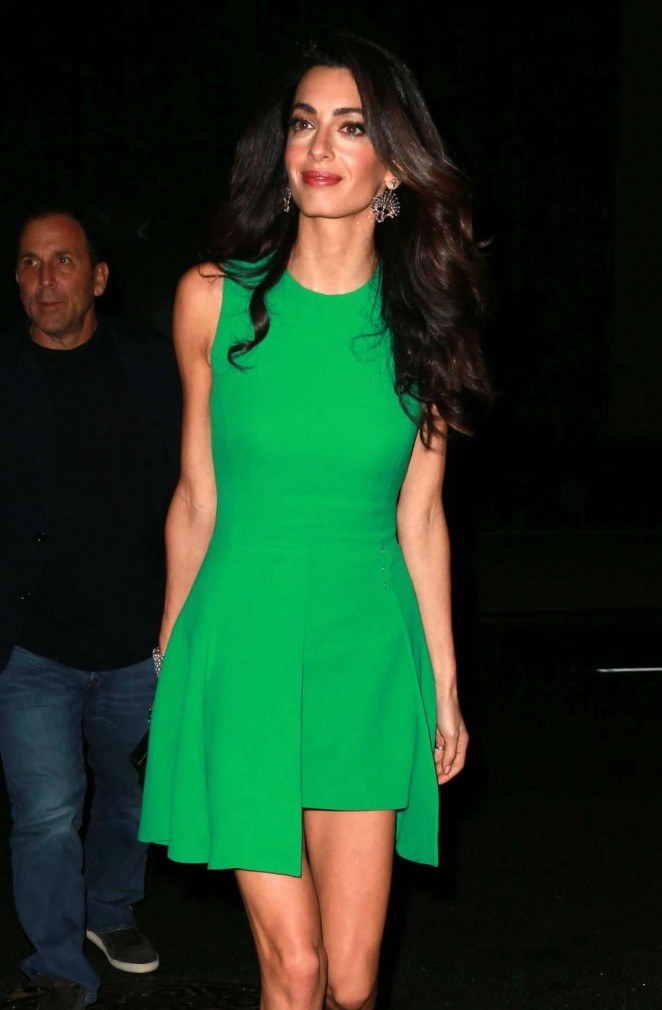 Amal Clooney in Green Mini Dress Out in NYC