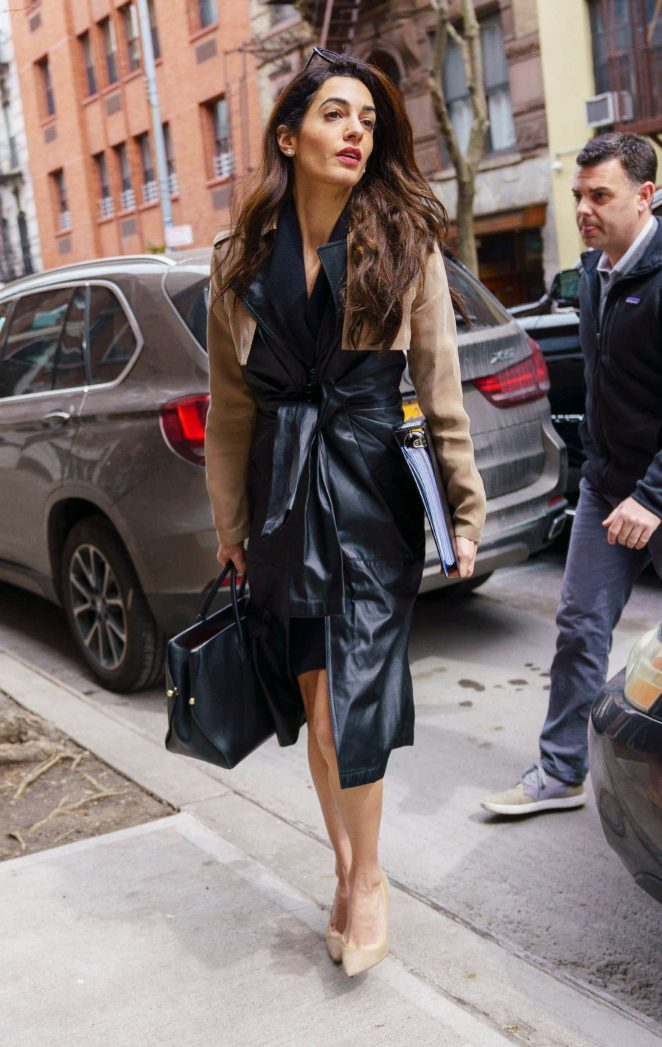 Amal Clooney in Leather Trench Coat out in New York
