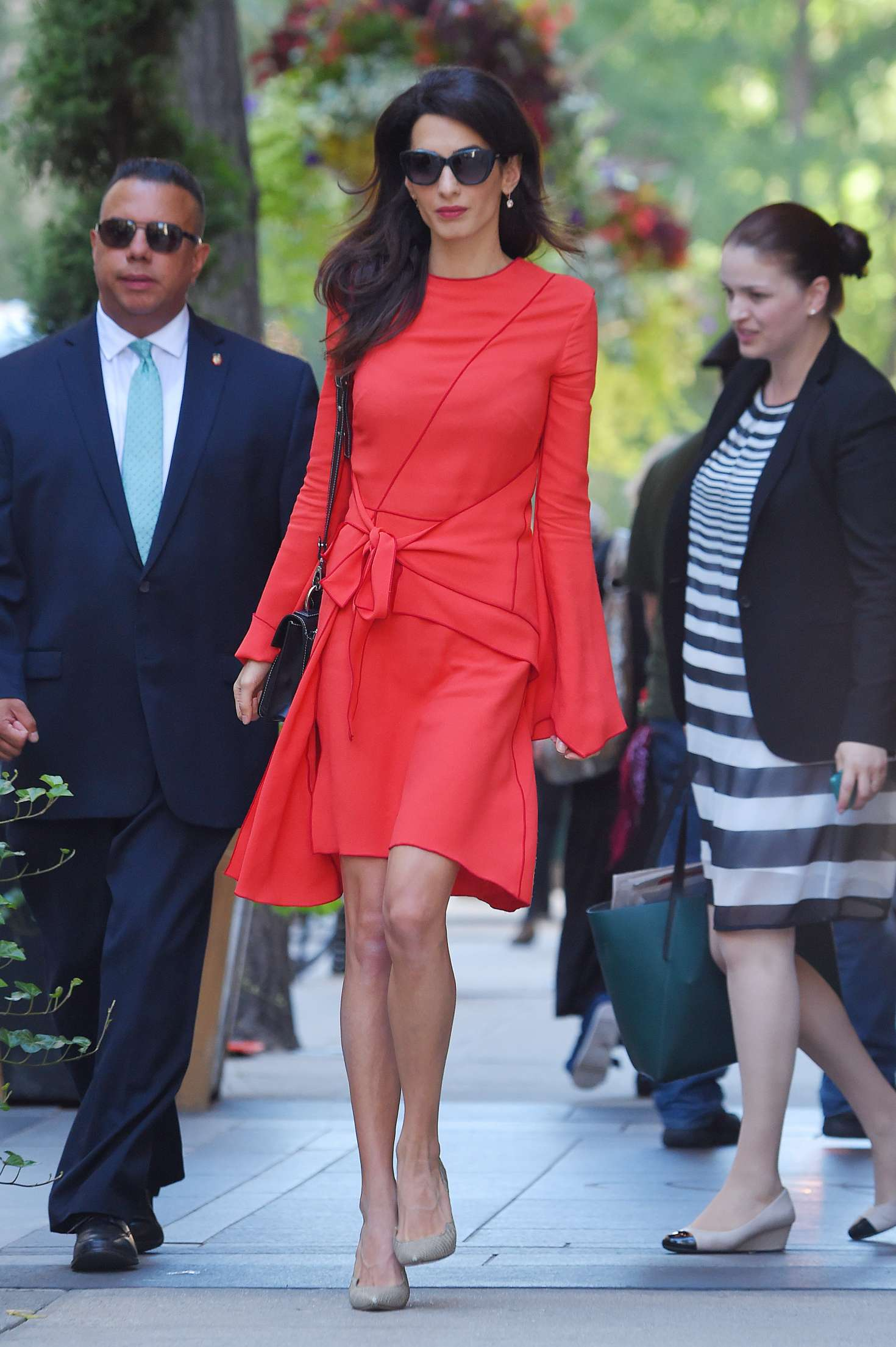 Amal Clooney in Red Dress - Out in NYC