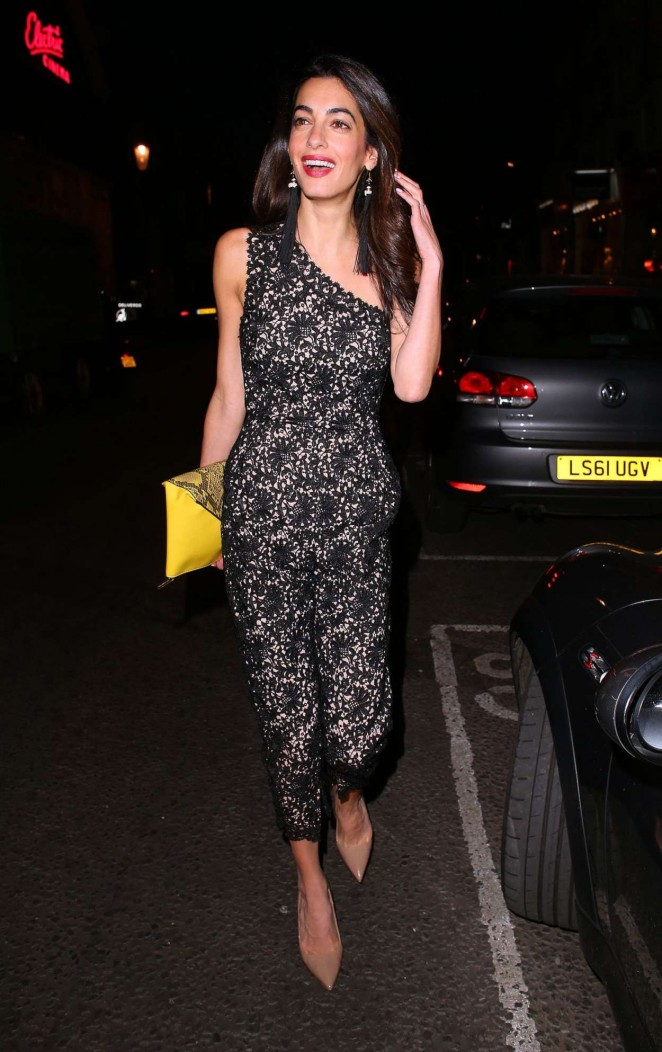 Amal Clooney in Jumpsuit Night Out in London