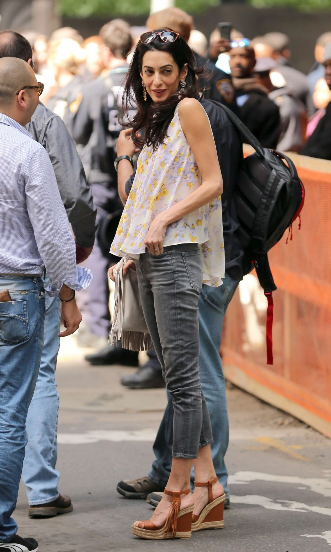 Amal Clooney in jeans at the 'Money Monster' set in NYC