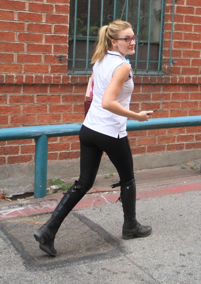 Amanda AJ Michalka in Tights -01