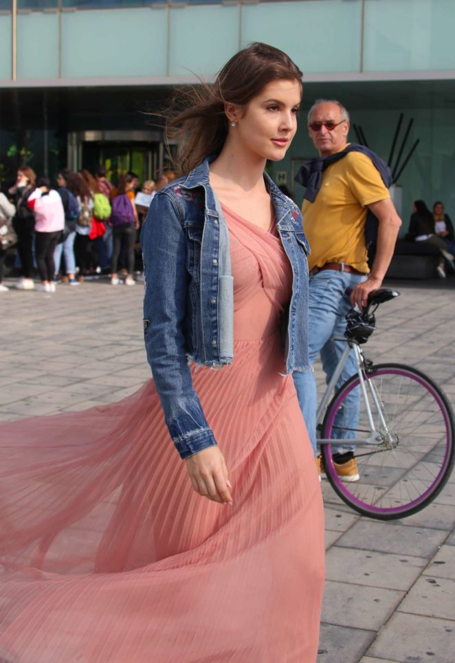 Amanda Cerny in a sheer dress out in Barcelona
