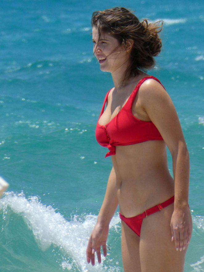 Amanda Cerny in Red Bikini at a beach in Mykonos