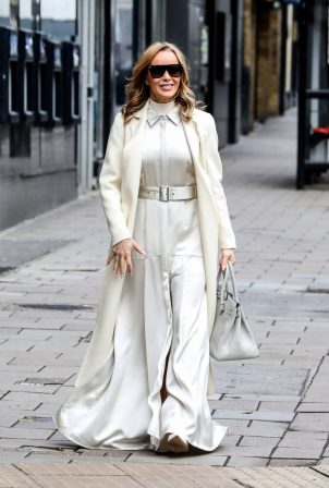Amanda Holden - All in white seen leaving Global Studios in London