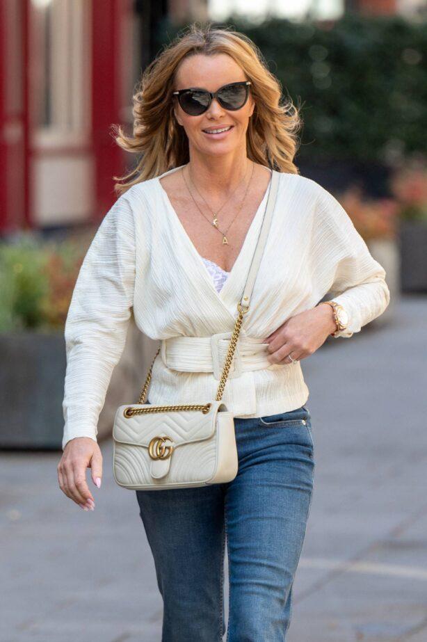 Amanda Holden - All smile leaving Global Studios - Heart FM in London