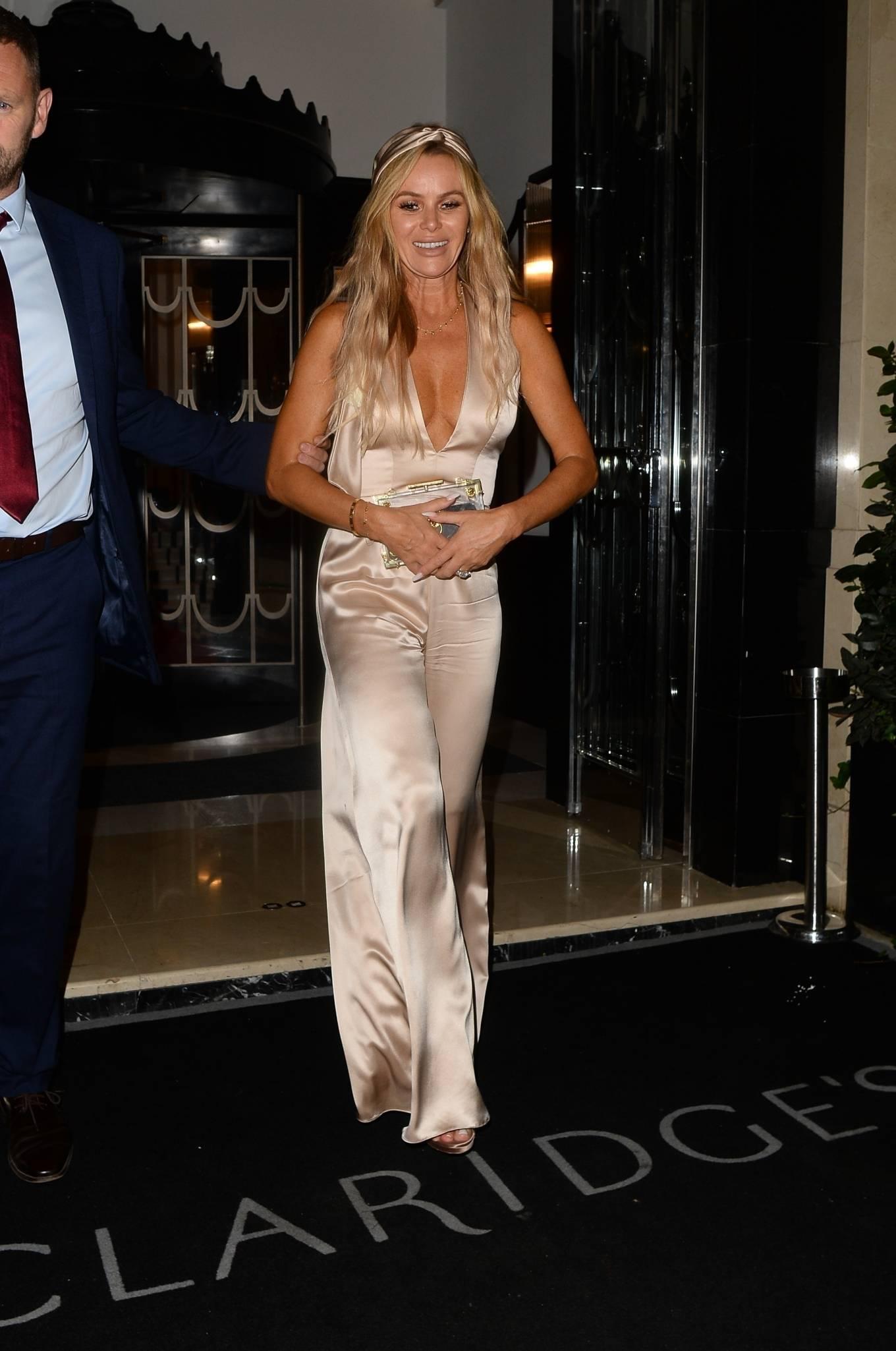 Amanda Holden - attend David Walliams's 50th birthday party at Claridge in London