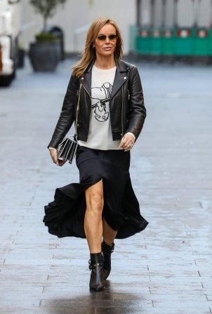 Amanda Holden - Dons rock lady style at the Global Radio Studios in London