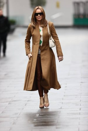 Amanda Holden - In a brown coat leaving Global Radio Studios in London
