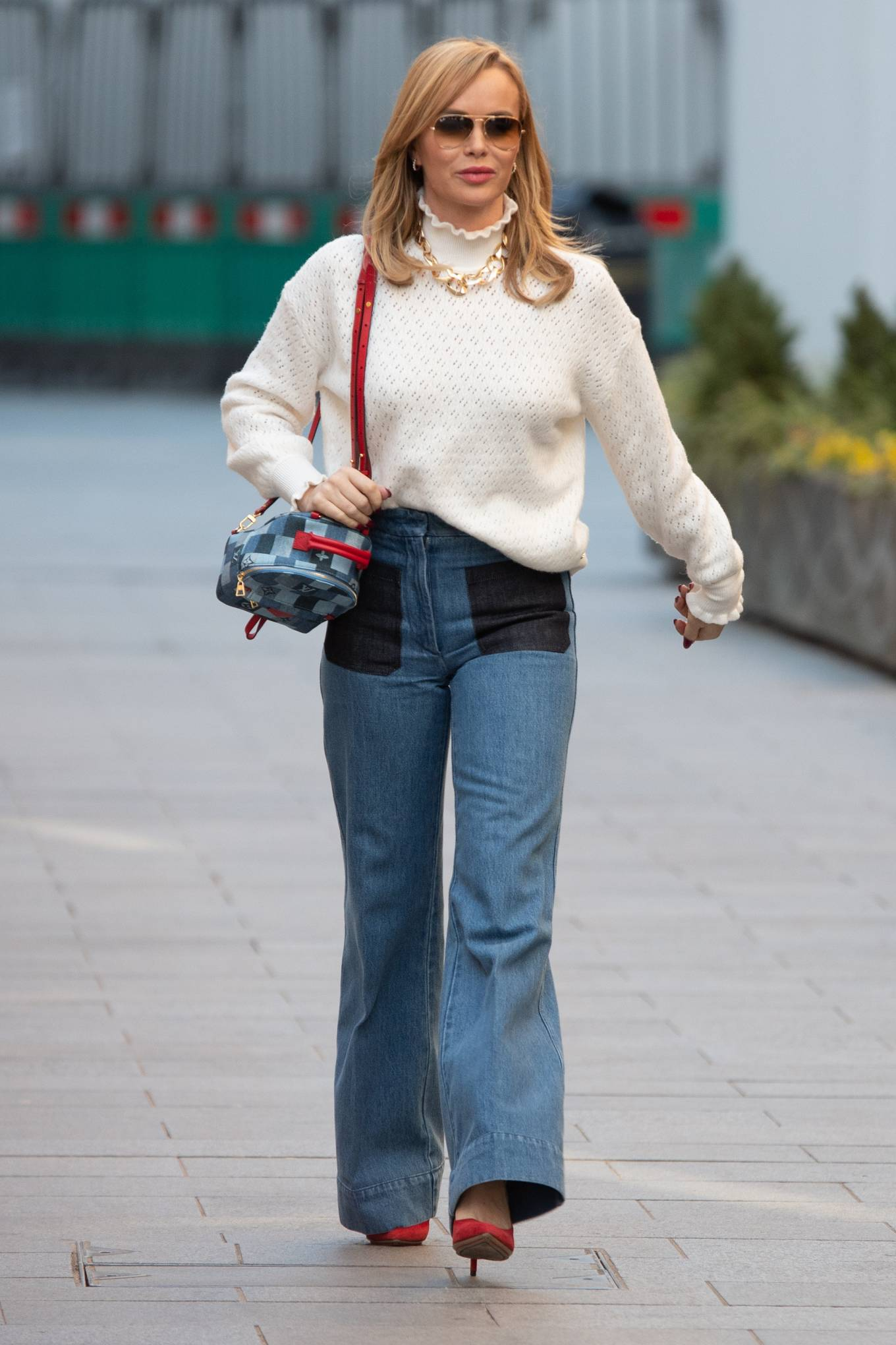 Amanda Holden - In a denim leaving the Global Radio Studios in London